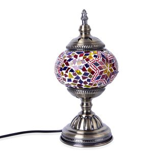 Turkish Inspired Handcrafted Yellow Eternity Moroccan Mosaic Table Lamp with Bronze Base (12x5 in) (Requires E-12 Bulb Adapter Included)
