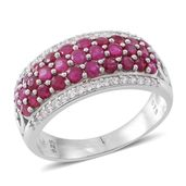 Web Exclusive Doorbuster Burmese Ruby, Cambodian White Zircon Sterling Silver Cluster Ring (Size 10.0) TGW 2.96 cts.