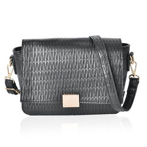 Black Embossed Faux Leather Flap Over Crossbody Bag (10x8x6 in)