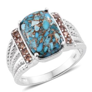 Royston Turquoise, Jenipapo Andalusite Platinum Over Sterling Silver Ring (Size 7.0) TGW 6.85 cts.