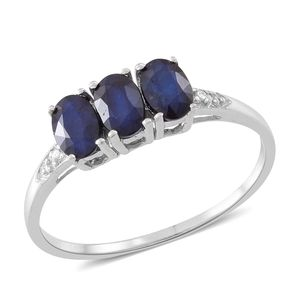 Web Exclusive Doorbuster Kanchanaburi Blue Sapphire Sterling Silver Trilogy Ring (Size 8.0) TGW 2.10 cts.