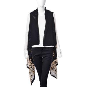 Black Floral Pattern 100% Polyester Sheer Kimono (One Size)