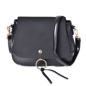 Black Faux Leather Foldover Crossbody Saddle Bag with Standing Stud and Removable Shoulder Strap (9x3x7.5 in)