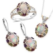 Doorbuster Ethiopian Opal, Multi Gemstone Platinum Over Sterling Silver Earrings, Pendant, Ring (Size 11), With Chain (20 in) TGW 8.67 cts.