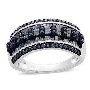 Blue Diamond (IR) Blue Rhodium & Sterling Silver Ring (Size 6.0) TDiaWt 1.00 cts, TGW 1.00 cts.