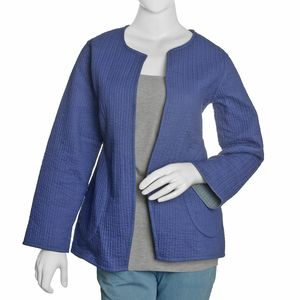 Blue and Gray 100% Cotton Reversible Quilted Jacket (XL/XXL)