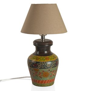 Multi Color Hand Painted Warli Art Terracotta Clay Flower Pot Electrical Table Lamp