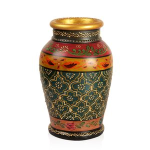 Hand Painted Dark Blue Multi Color Floral Pattern Terracotta Clay Flower Vase (5x10.5x5 in)