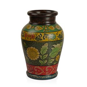 Charcoal Multi Color Floral Pattern Terracotta Clay Flower Vase (5x10.5x5 in)