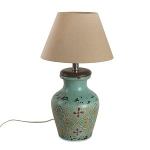 Hand Painted Electrical Turquoise Floral Terracotta Clay Flower Pot Table Lamp (Require G16.5 Bulb, E26 Base)