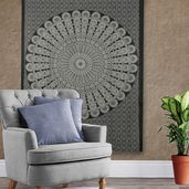 Black and White 100% Cotton Wall Hanging with 4 Loop (53.15x78.74 in)
