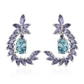 Mega Clearance Cambodian Blue Zircon, Catalina Iolite Platinum Over Sterling Silver Dangle Earrings TGW 4.62 cts.