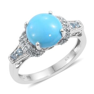 Arizona Sleeping Beauty Turquoise, Electric Blue Topaz, Cambodian Zircon Platinum Over Sterling Silver Ring (Size 10.0) TGW 3.78 cts.