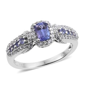 Premium AAA Tanzanite, Cambodian Zircon Platinum Over Sterling Silver Ring (Size 5.0) TGW 1.39 cts.