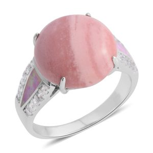 Australian Pink Opal, Lab Created Pink Opal, White Zircon Sterling Silver Ring (Size 6.0) TGW 7.40 cts.