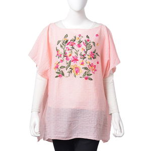 Pink 30% Cotton and 70% Polyester Floral Embroidered Poncho (One Size)