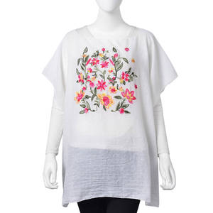 White 30% Cotton and 70% Polyester Floral Embroidered Poncho (One Size)