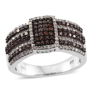 Red Diamond (IR), Diamond Black Rhodium & Platinum Over Sterling Silver Ring (Size 8.0) TDiaWt 1.06 cts, TGW 1.06 cts.
