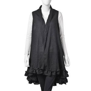 Black 30% Cotton & 70% Polyester Ruffled Kimono (One Size)
