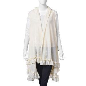 Cream 30% Cotton and 70% Polyester Half-moon Shape Kimono with Falbala Edge (74.81x45.28 in)