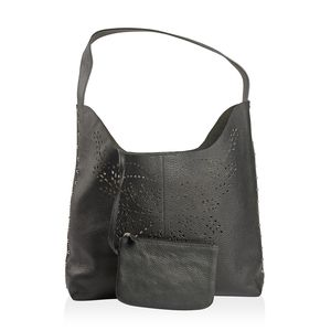 Black Genuine Leather Laser Cut Studded Tote (10.5x13.1x3.9 in) with Matching RFID Clutch Wallet (6.5x4.5 in)