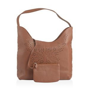 Tan Genuine Leather Laser Cut Studded Tote (10.5x13.1x3.9 in) with Matching RFID Clutch Wallet (6.5x4.5 in)