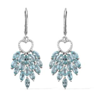 Madagascar Paraiba Apatite Platinum Over Sterling Silver Earrings TGW 4.25 cts.