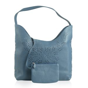 Sea Blue Genuine Leather RFID Laser Cut Studded Tote (13.1x5.9x10.6 in) with Matching Clutch (6.5x4.5 in)