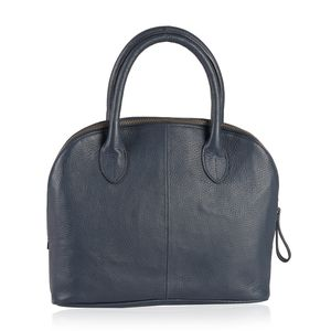 Lifestyle Must Have Navy Genuine Leather Satchel Bag (11.41x4.33x9.44 in) with Removable Strap (54 in)