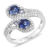 Ceylon Blue Sapphire, Tanzanite, Cambodian Zircon Platinum Over Sterling Silver Ring (Size 8.0) TGW 2.32 cts.