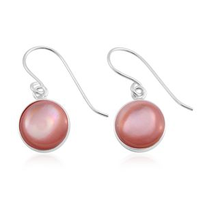 Pink Mother of Pearl Stainless Steel Drop Earrings