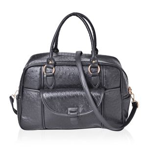 Black Ostrich Skin Embossed Faux Leather Duffle Bag Style Fashion Tote with Standing Stud and Removable Shoulder Bag (17x7x10 in)