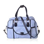 Light Steel Blue Ostrich Skin Embossed Faux Leather Duffle Bag Style Fashion Tote with Standing Stud and Removable Shoulder Bag (17x7x10 in)