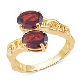 Mozambique Garnet 14K YG Over Sterling Silver Bypass Ring (Size 7.0) TGW 4.14 cts.