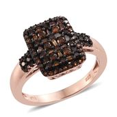 Red Diamond (IR) Black Rhodium & 14K RG Over Sterling Silver Ring (Size 10.0) TDiaWt 0.75 cts, TGW 0.75 cts.