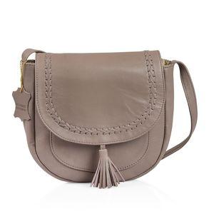Gray Genuine Leather RFID Tassel Saddle Sling Bag (9x8.5x3.5 in)