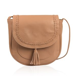 Camel Genuine Leather RFID Tassel Saddle Sling Bag (9x8.5x3.5 in)