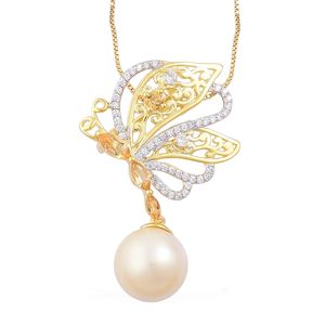 South Sea Golden Pearl (11-11.5 mm), Brazilian Citrine, White Zircon 14K YG Over Sterling Silver Side Butterfly Drop Pendant With Chain (18 in) TGW 0.89 cts.