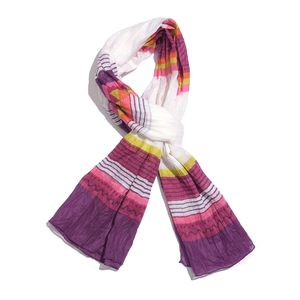 Yellow and Wine Red Striped Pattern 100% Cotton Scarf (40x72 in)