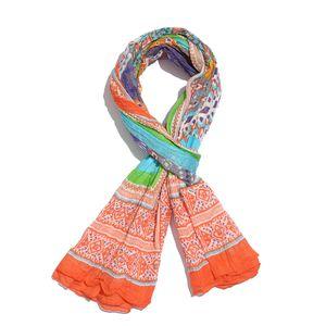 Multi Color with Orange Geo Border 100% Cotton Scarf (40x72 in)
