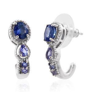 Ceylon Blue Sapphire, Tanzanite Platinum Over Sterling Silver J-Hoop Earrings TGW 2.02 cts.