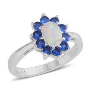 Lab Created Opal, Simulated Blue Diamond Silvertone Flower Ring (Size 7.0) TGW 1.00 cts.