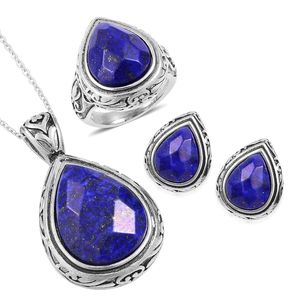 Lapis Lazuli Black Oxidized Stainless Steel Earrings, Ring (Size 10) and Pendant With Chain (20 in) TGW 44.40 cts.