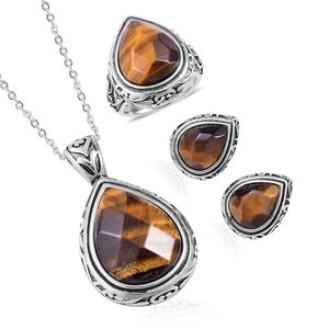 South African Tigers Eye Black Oxidized Stainless Steel Earrings, Ring (Size 9) and Pendant With Chain (20 in) TGW 38.00 cts.