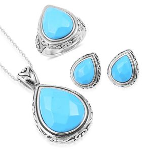 Blue Howlite Black Oxidized Stainless Steel Earrings, Ring (Size 9) and Pendant With Chain (20 in) TGW 32.00 cts.