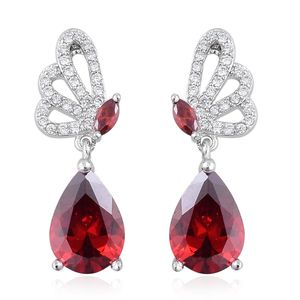 Simulated Red and White Diamond Silvertone Butterfly Drop Earrings TGW 5.90 cts.