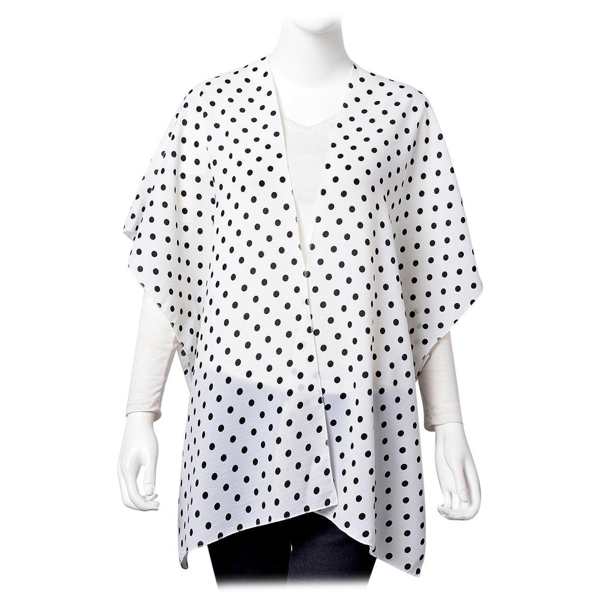 White with Black Dot Pattern 100% Polyester Kimono (28.35x36.22 in)