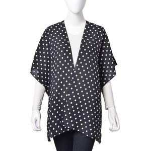 Black with White Dot Pattern 100% Polyester Kimono (28.35x36.22 in)