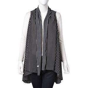 Black with White Strip Pattern 100% Polyester Kimono (64.57x43.31 in)