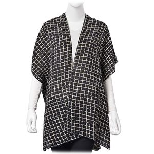 Black with Coffee 100% Polyester Chequer Pattern Kimono (One Size)